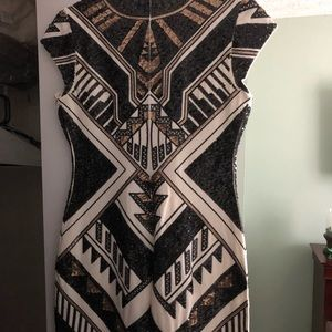 Express Aztec Sequined Fitted Dress